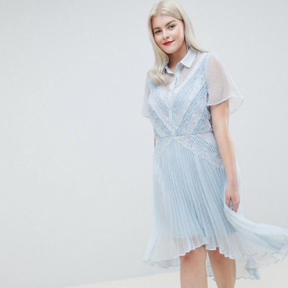 ASOS Curve Dresses & Skirts - Asos Curve baby blue collar high low pleated dress
